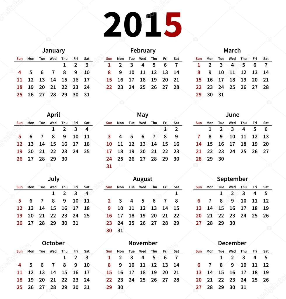 simple 2015 year calendar on white background stock vector