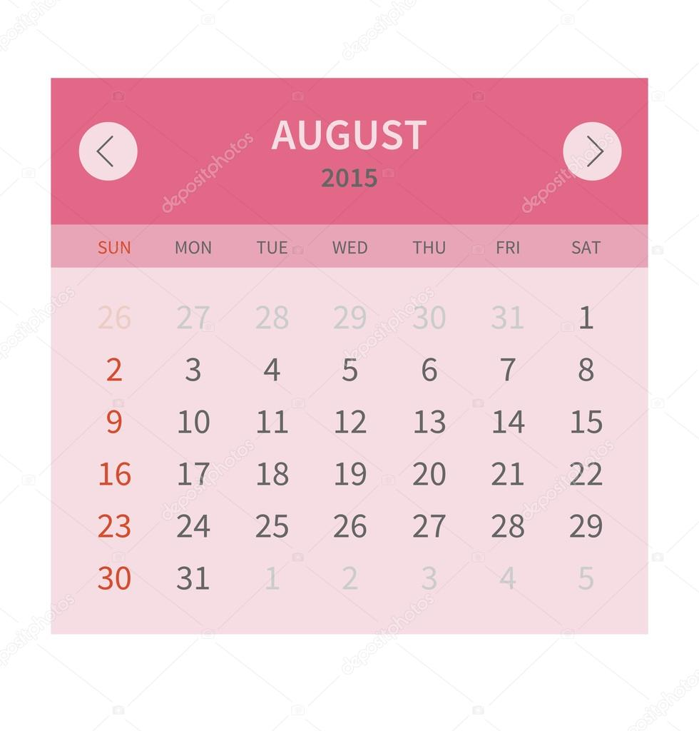 Kalender Monat august 2015 in flache Bauform — Stockvektor © skymax ...