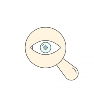 Searching Eye with magnifying glass investigation concept icon