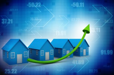 House real estate chart with growing arrow
