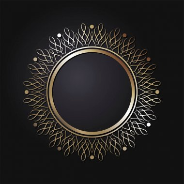 Decorative openwork round frame with gold abstract pattern on black background. Circular ornament. An elegant element for design. Vector. icon