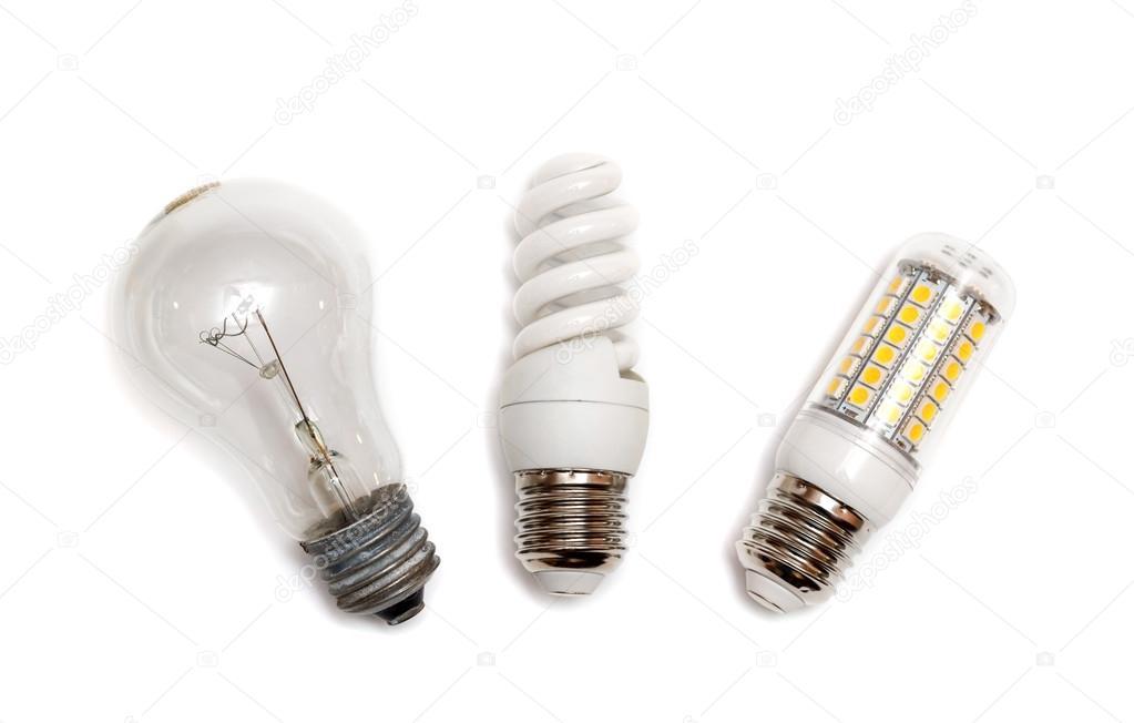 Different Types Of Light Bulbs On White U2014 Photo By Depfotovampir