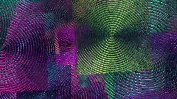 Flying spiral squares in blue and purple colors