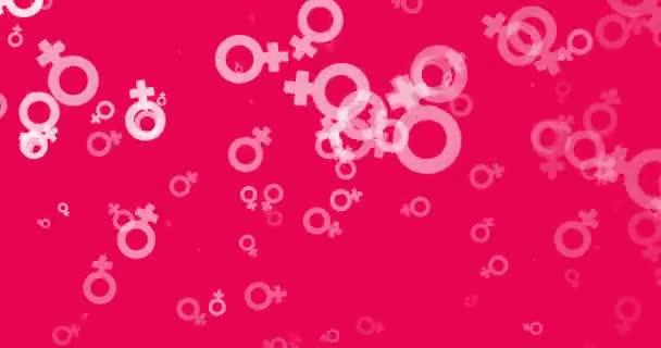 Geschlecht-Symbol-Icons in weiß auf Rosa