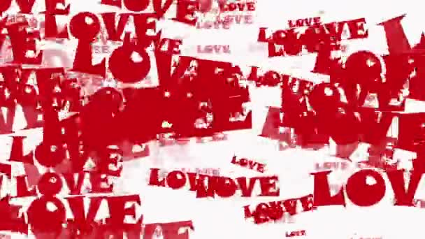 Flying words LOVE in red on white