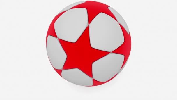 Fotbalový míč v bílé a červené na bílém pozadí