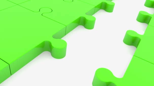 Puzzle pieces in green color with one missing blue