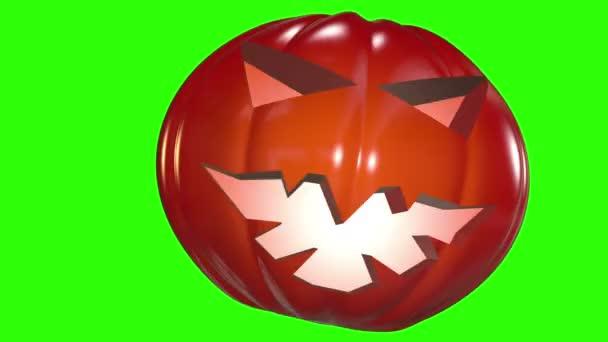 Abstraktní dýňová hlava v tmavě oranžové na zelenou obrazovku