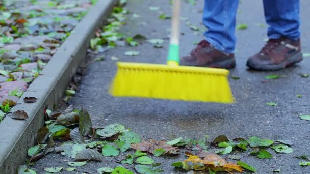 Pracovník zametá listí