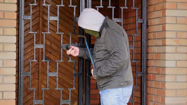 Lupič s páčidlo se snaží otevřít brány