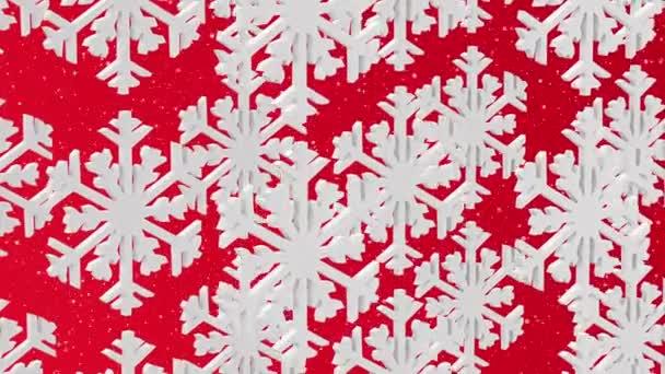 fiocchi di neve bianche su sfondo rosso