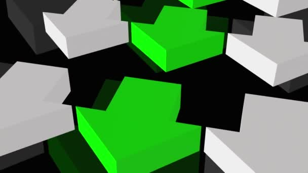 Green and white arrows on a black