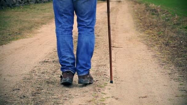 Man with walking stick walking away down the road