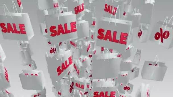 Bílé nákupní tašky s nápisem prodej a procenta