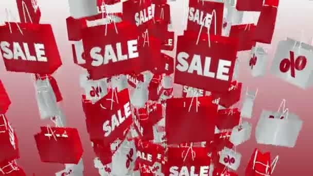 Bílý a červený nákupní tašky s nápisem prodej a procenta