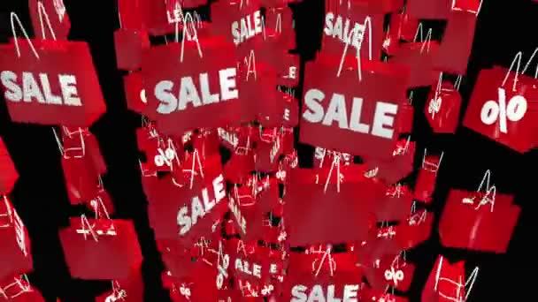 Červený nákupní tašky s prodejem a procenta nápis na černém