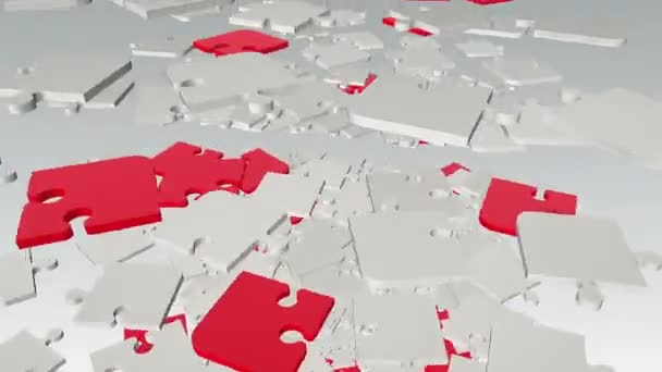 Falling, rotating abstract puzzle pieces in white and red