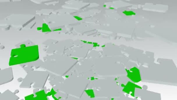 Klesající, rotující abstraktní puzzle kousky v bílé a zelené