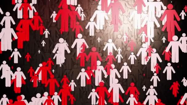 Koncept s postavami lidí v červené barvě