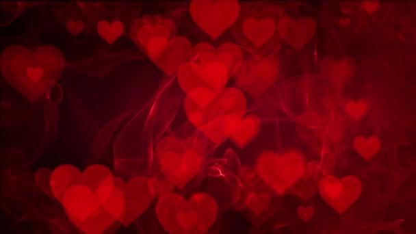 Abstraktní srdce na červeném pozadí