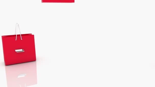 Červený nákupní tašky s 25 procent nápis