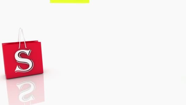 Bevásárló táskák, a különböző színek a fehér felirat eladó
