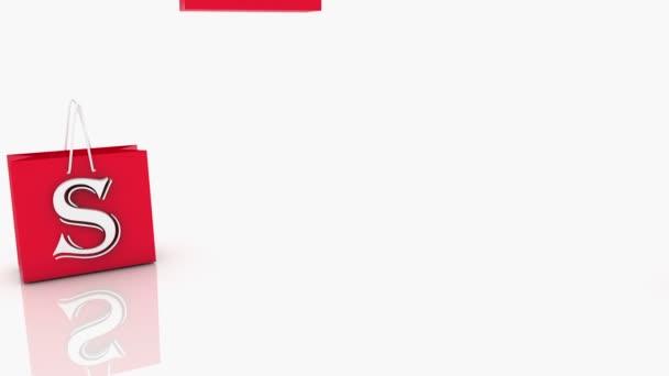 Červený nákupní tašky s nápisem prodej