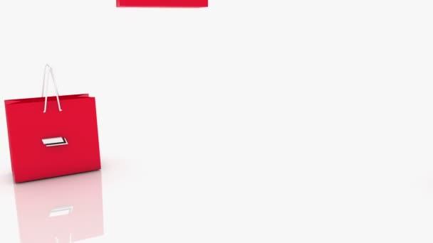 Červený nákupní tašky s nápisem 50 procent