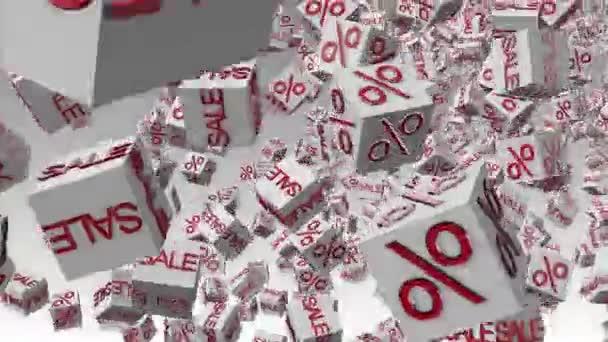 abstrakte Würfel mit Beschriftung Verkauf und Prozent in weiß