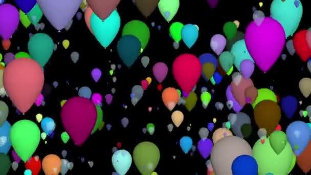 Létající balóny na černém pozadí