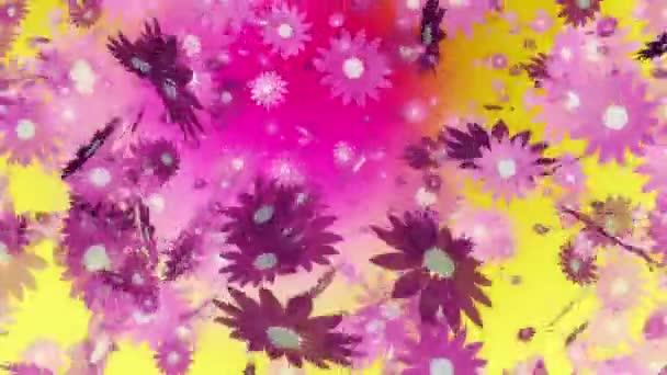 Létající růžové květy Yellow