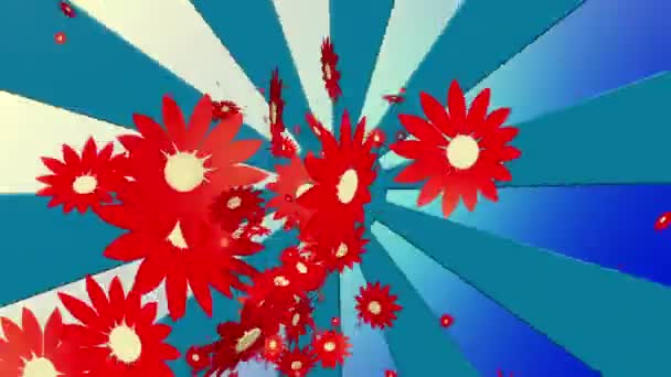 Létající červené květy na sunburst