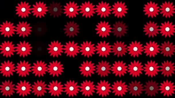 Abstraktní červenými květy v řádcích na černém pozadí