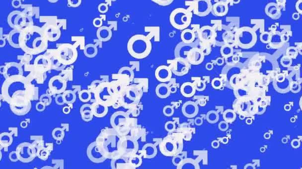 Gender symbol icons in white on blue