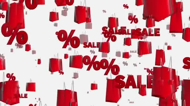 Shopping bags with sale and percents on white