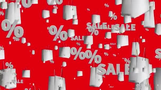 Nákupní tašky s zpráva prodej a procenta na červené