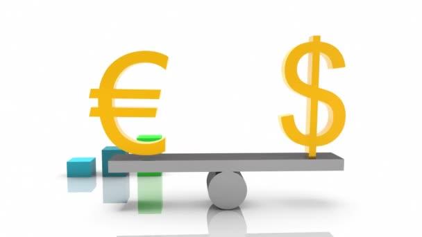 USA dollár és eurójel a hinta