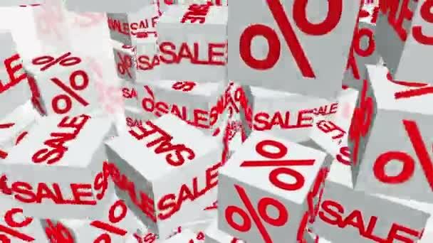 Würfel mit Verkaufs- und Prozentangabe in weiß