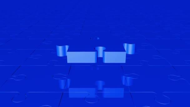 Létající kousek skládačky v modré barvě