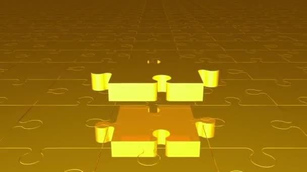 Létající kousek skládačky v žluté barvě