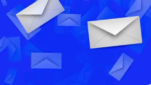 Envelopes in white on blue