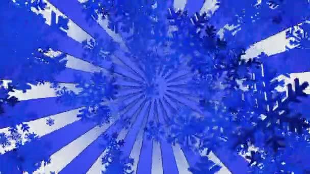 Létající vločky s sunburst v modrém