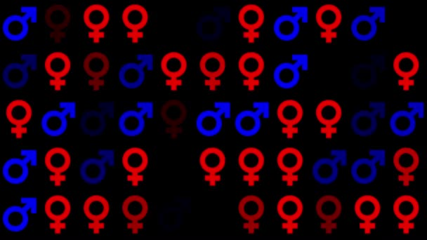 Gender symbol icons in red and blue colors on black