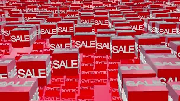 Würfel mit Verkaufsbotschaft in rot