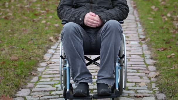 Disabled man sitting on wheelchair at outdoor