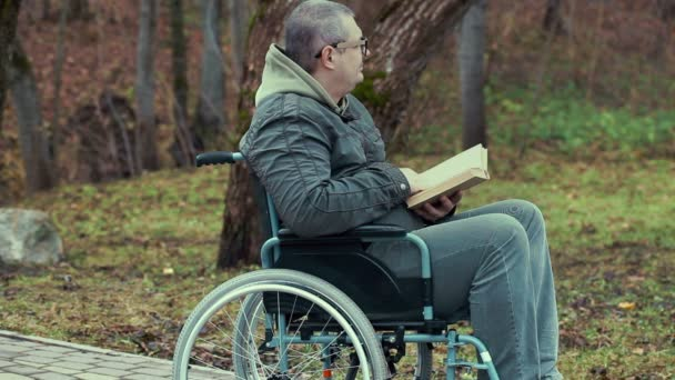 Disabled man reading book in wheelchair at outdoor