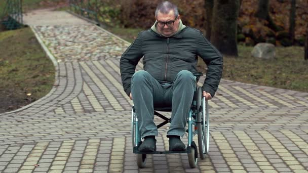 Disabled man using wheelchair on path at outdoor