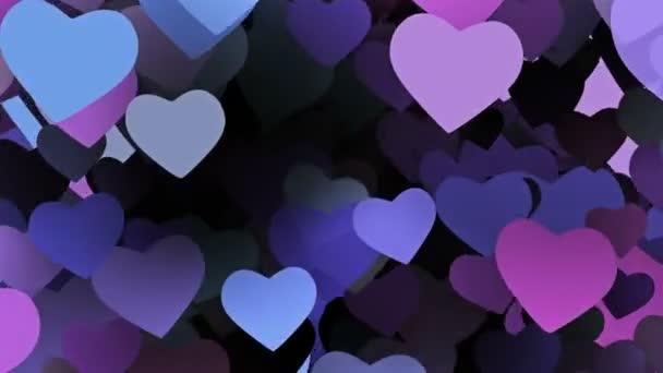 Repülő szívét, kék és lila színekben