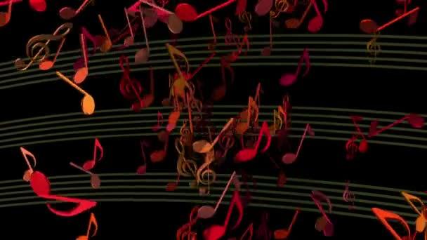 abstrakte fliegende Musiknoten in verschiedenen Farben