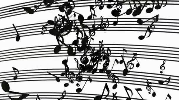 Astratti di volo note musicali in nero su bianco